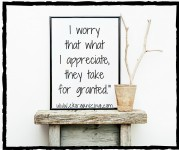 I worry that what I appreciate, they take for granted.-